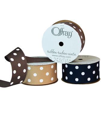 "Offray 1.5""x9' Polka Dots Grosgrain Ribbon"