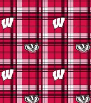 "University of Wisconsin Badgers Fleece Fabric 58""-Plaid, , hi-res"