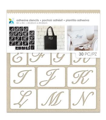 Momenta 30 Pack 8''x8'' Adhesive Fabric Stencils-Uppercase Script Alpha
