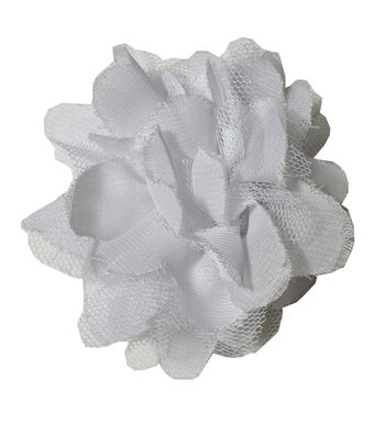 Sheer Tulle Flower White