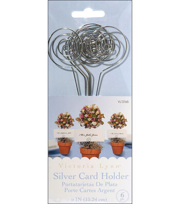 "Wire Card Holders 6"" 6/Pkg-Silver"