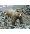 Novelty Cotton Fabric Panel 44\u0022-Bear In The Mountain