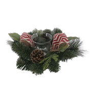 Blooming Holiday Christmas 12'' Bow & Pinecone Candle Holder, , hi-res