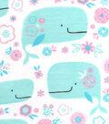 Snuggle Flannel Fabric 42\u0022-Whales & Flowers
