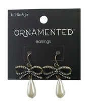 hildie & jo™ Ornamented Bow Antique Gold Earrings-Pearl Teardrop, , hi-res