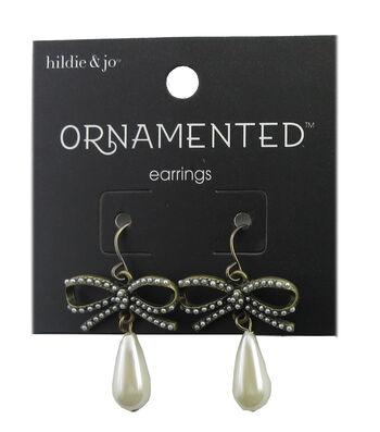 hildie & jo™ Ornamented Bow Antique Gold Earrings-Pearl Teardrop