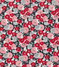 Wide Flannel Fabric 108\u0022-Red Floral On Black