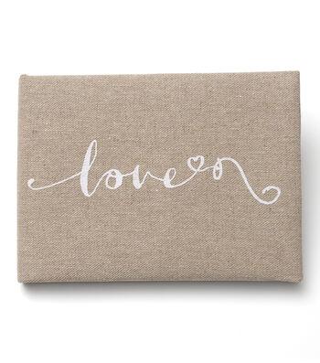 Save The Date Linen Guest Book-Love Script
