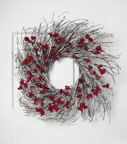 Blooming Holiday Christmas 24'' Berry & Twig Wreath-Red, , hi-res