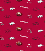 "University of Arkansas Razorbacks Cotton Fabric 44""-Red All Over, , hi-res"