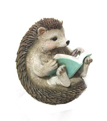 Hello Spring Gardening Resin Reading Hedgehog Statuary