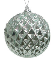 Maker's Holiday Christmas Glass Globe Ornament-Blue Geometric, , hi-res