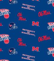 """Ole Mississippi Rebels Fleece Fabric 58""""-Allover, , hi-res"""