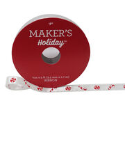 Maker's Holiday Christmas Ribbon 3/8''X9'-Candy Cane on White, , hi-res