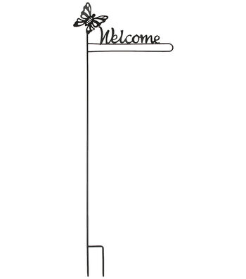 Porch Décor Butterfly Iron Flag Stake-Welcome