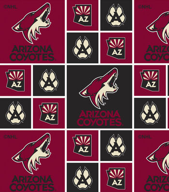 Arizona Coyotes Cotton Fabric 43''-Block