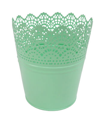 Easter Small Metal Cutout Basket-Green