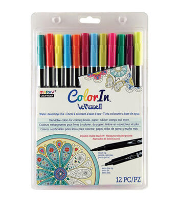 Color In Double-Ended Markers 12/Pkg-Bright