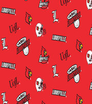 "University of Louisville Cardinals Cotton Fabric 44""-Red All Over, , hi-res"