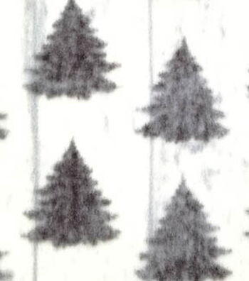 "3 Yard Pre-Cut Anti-Pill Fleece Fabric 57""-White Wash Pine Trees"