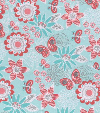 Snuggle Flannel Fabric 42''-Mint & Coral Floral