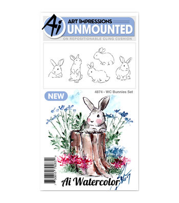 Art Impressions Watercolor Cling Rubber Stamps -Bunnies