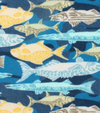 "3 Yard Pre-Cut Anti-Pill Fleece Fabric 59""-Textured Fish"