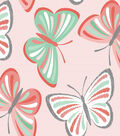 Fabric-Central Cotton Fabric-Eviu Coral Butterfiles