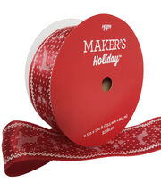 Maker's Holiday Christmas Value Ribbon 2.5''x100'-White Stitch Deer, , hi-res