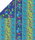 Double Faced Pre-Quilted Cotton Fabric 42\u0022-Purple Floral Stripe