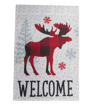 Maker's Holiday Christmas 12''x18'' Flag-Plaid Moose & Welcome