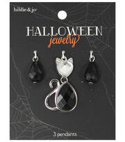 hildie & jo™ Halloween Bling Cat Silver Pendant-Black Crystal, , hi-res