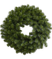 Blooming Holiday Christmas 24'' PVC Canadian Pine Wreath, , hi-res