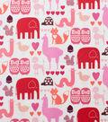 Alexander Henry Cotton Fabric 44\u0022-I Heart Animals Pink Tonal