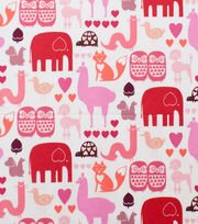 "Alexander Henry Cotton Fabric 44""-I Heart Animals Pink Tonal, , hi-res"