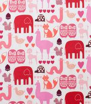 "Alexander Henry Cotton Fabric 44""-I Heart Animals Pink Tonal, , hi-res"