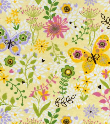 """Snuggle Flannel Fabric 42""""-Butterfly Trap"""