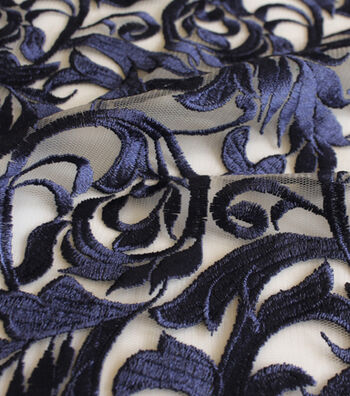 """Casa Embellish Eventide Heavy Embroidered Fabric 58""""-Blue Print"""