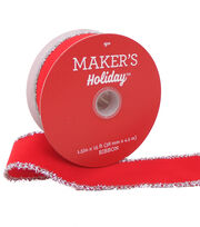 Maker's Holiday Velvet Ribbon 1.5''x15'-Red with Silver Tinsel Edge, , hi-res