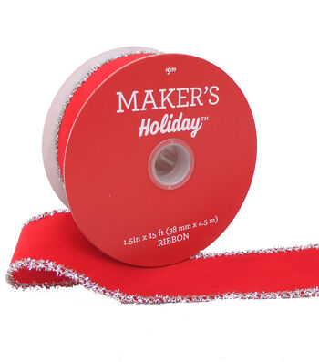 Maker's Holiday Velvet Ribbon 1.5''x15'-Red with Silver Tinsel Edge
