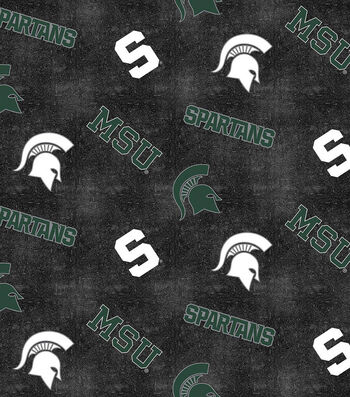 """Michigan State University Spartans Flannel Fabric 42""""-Distressed Logo"""