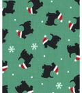 Holiday Showcase™ Christmas Cotton Fabric 43\u0027\u0027-Christmas Dog on Green