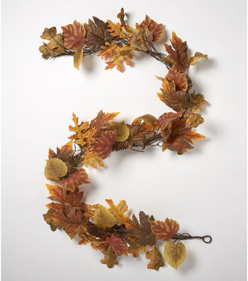 Blooming Autumn 66'' Realistic Leaf & Pinecone Garland