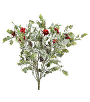 Blooming Holiday Holly Leaves, Berry, Bell & Pinecone Spray-Red & Green, , hi-res