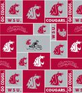 Washington State University Cougars Fleece Fabric 58\u0022-Block