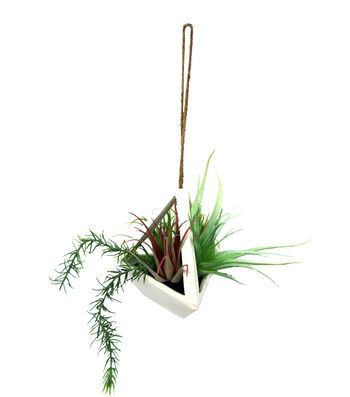Hello Spring Airplant Floral in White Decor Hanging Container