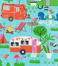 Novelty Cotton Fabric 44\u0022-Campers On Blue