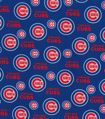 """Chicago Cubs Cotton Fabric 58""""-Glitter"""