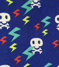 Ultra Fluffy Fleece Fabric 57\u0022-Lightening Bolt Skulls