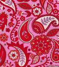 Keepsake Calico Cotton Fabric-Paisley Pink Red